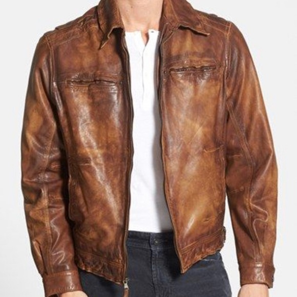 best loved 64c80 533cd Missani Le Collezioni Fit Washed Leather Jacket
